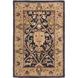 Safavieh Handmade Mahal Blue/ Gold New Zealand Wool Rug (2' x 3')