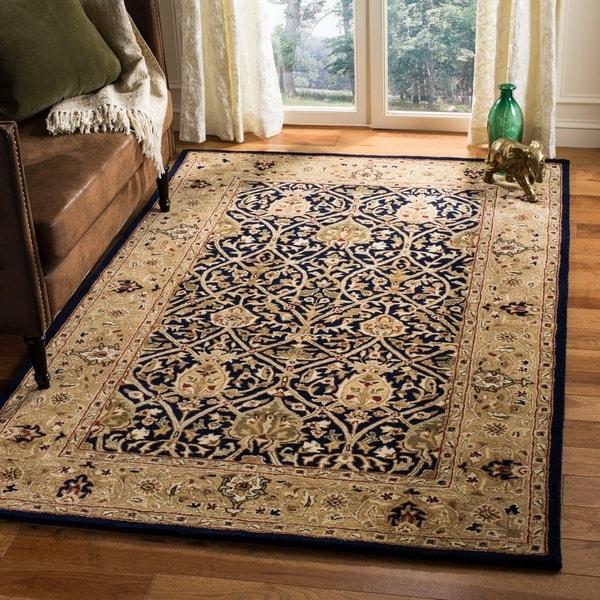 Safavieh Handmade Mahal Blue/ Gold New Zealand Wool Rug - 7'6 x 9'6