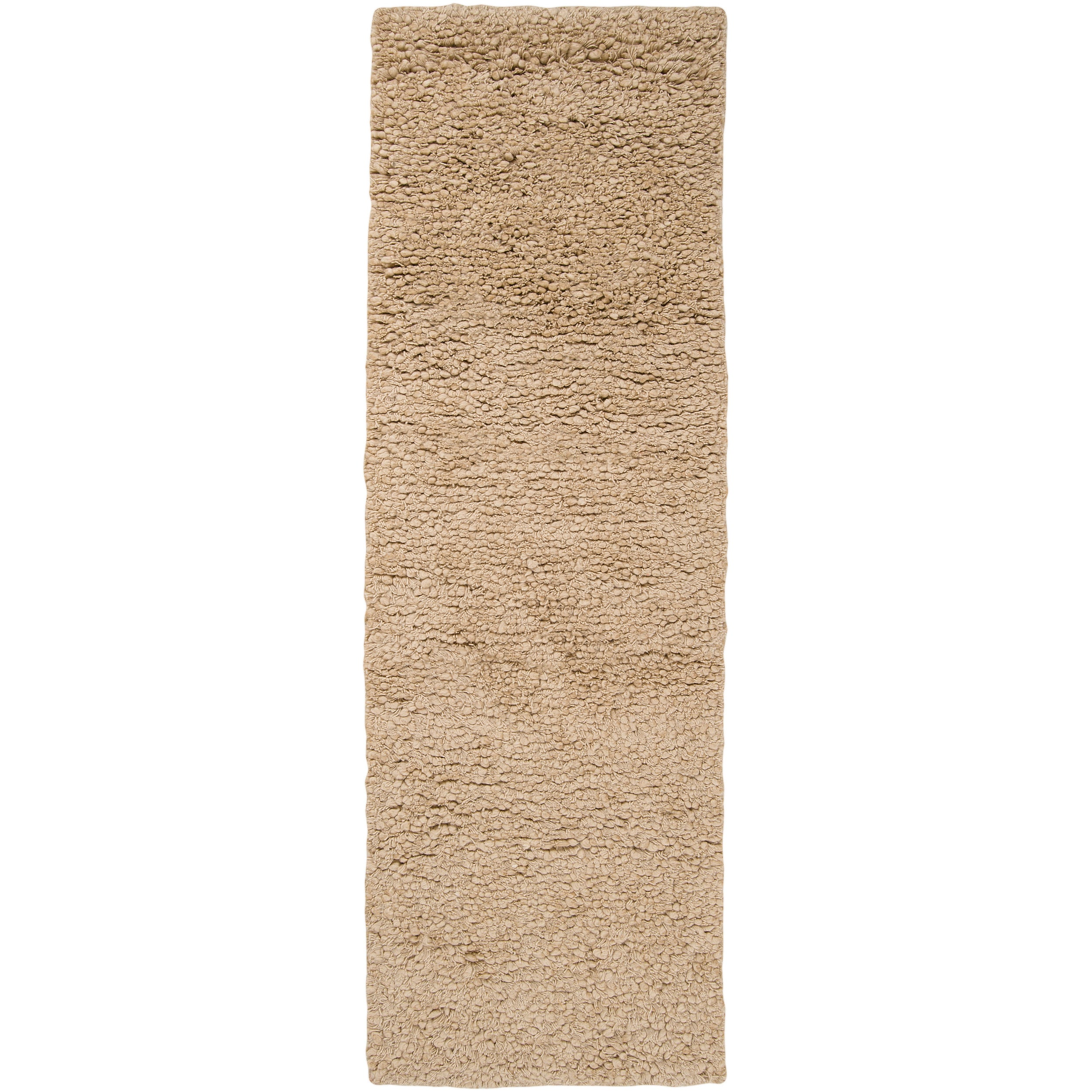 Hand-woven Beige Caucus New Zealand Wool Plush Shag Rug (2'6 x 8')
