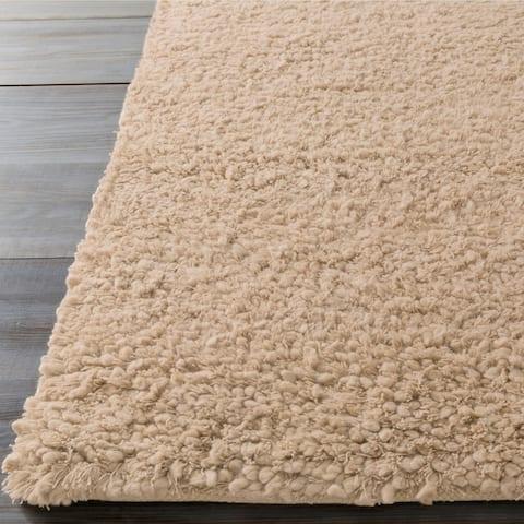 """Hand-woven Beige Caucus New Zealand Wool Plush Shag Area Rug - 2'6"""" x 8' Runner"""