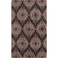 Hand-tufted Contemporary Grey Spruce New Zealand Wool Medallion Area Rug - 5' x 8'