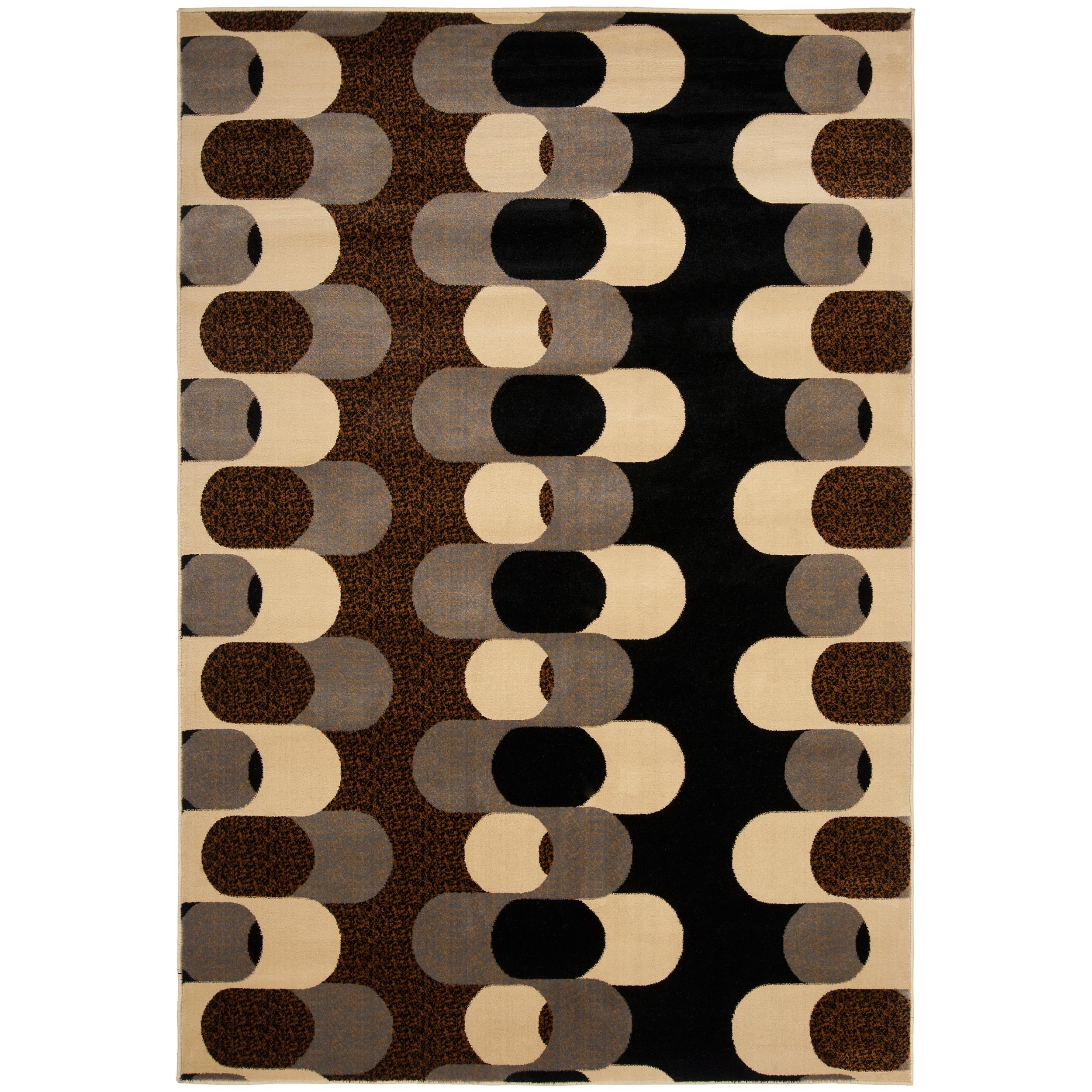 Meticulously Woven Black Mockernut Geometric Rug (7'10 x 10'3)