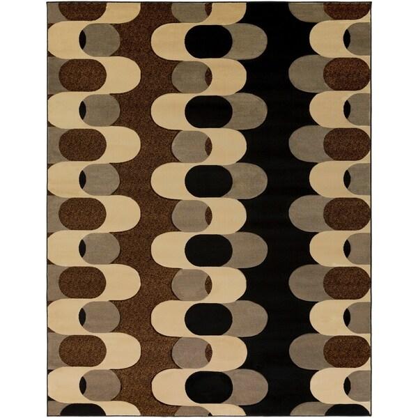Black Mockernut Geometric Area Rug - 7'10 x 10'3