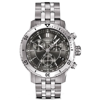 Tissot Men's 'PRS 200' Black Chronograph Dial Stainless Steel Watch