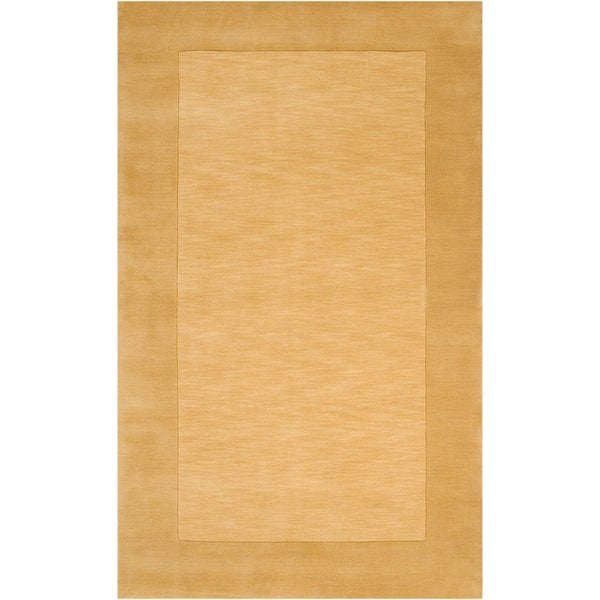 Hand-crafted Gold Tone-On-Tone Bordered Wool Fringe Area Rug - 9' x 13'