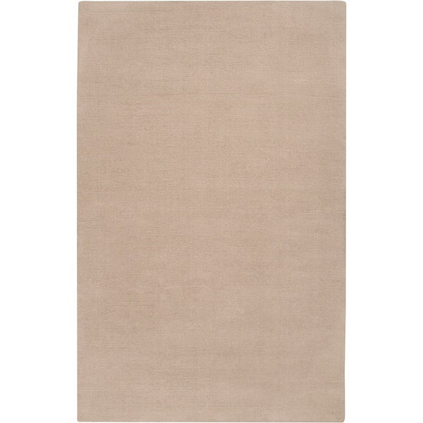 """Hand-crafted Beige Solid Casual Wool Callery Area Rug - 7'6"""" x 9'6"""""""