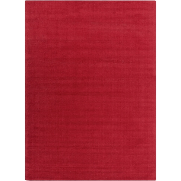 Hand-crafted Red Solid Casual Wool Osage Area Rug - 8' X 11'