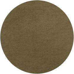 Hand-crafted Solid Green Casual Linden Wool Rug (9'9 Round)