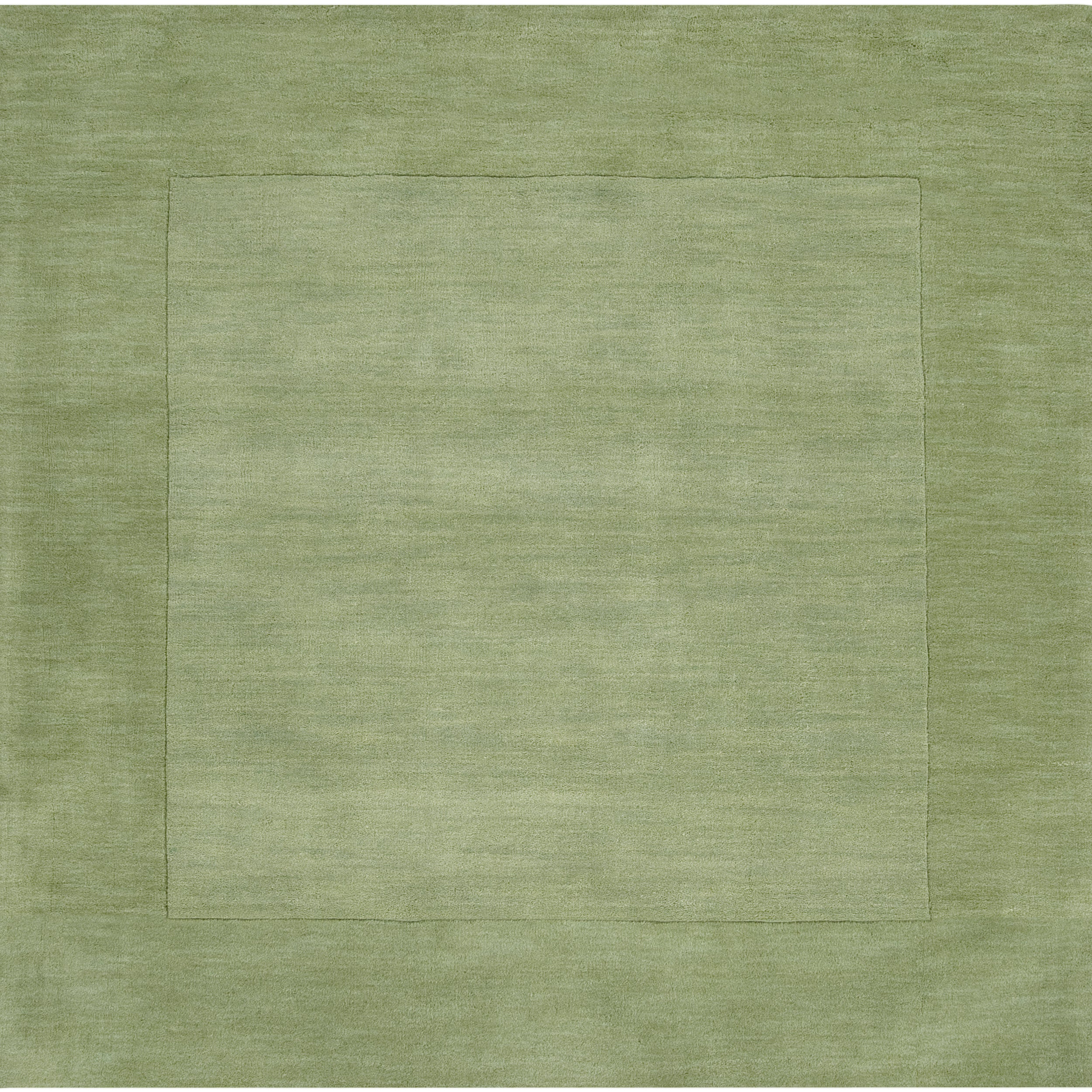 Hand-crafted Moss Green Tone-On-Tone Bordered Beech Wool Rug (6' Square)