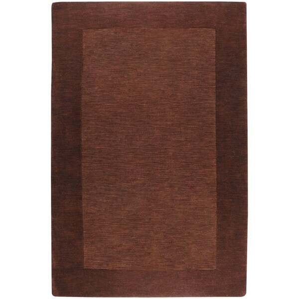 Hand-crafted Solid Brown Tone-On-Tone Bordered Alder Wool Area Rug - 9' x 13'