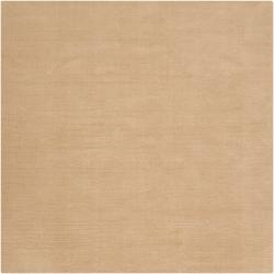 Hand-crafted Solid Pale Gold Casual Nimbus Wool Rug (9'9 Round)