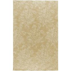 Hand-crafted Solid Beige Damask Thatch Wool Rug (2' x 3')