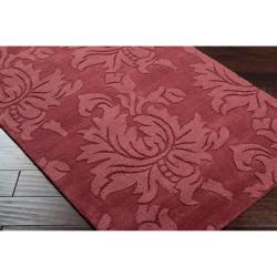 Hand-crafted Solid Red Damask Cement Wool Rug (5' x 8') - Thumbnail 1
