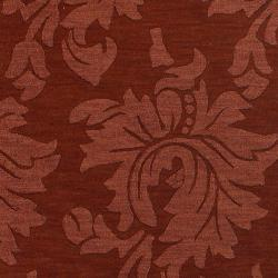 Hand-crafted Solid Red Damask Cement Wool Rug (5' x 8') - Thumbnail 2