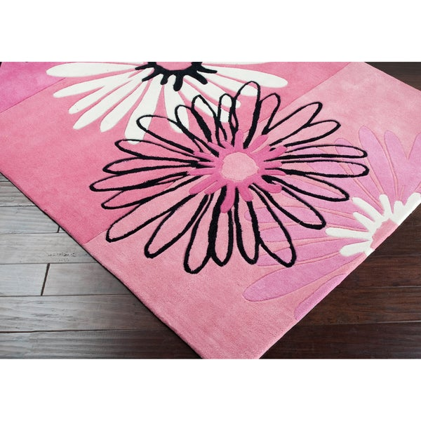 Hand-tufted Pink Pinot Floral Rug (8' x 10')
