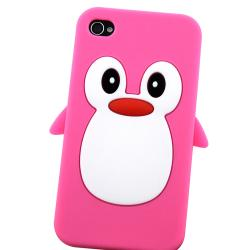 Pink Penguin Silicone Skin Case for Apple iPhone 4/ 4S - Thumbnail 1