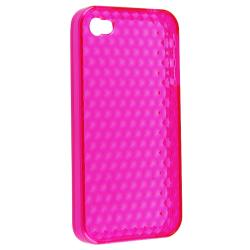 INSTEN Clear Hot Pink Mid Diamond TPU Rubber Skin Phone Case Cover for Apple iPhone 4/ 4S