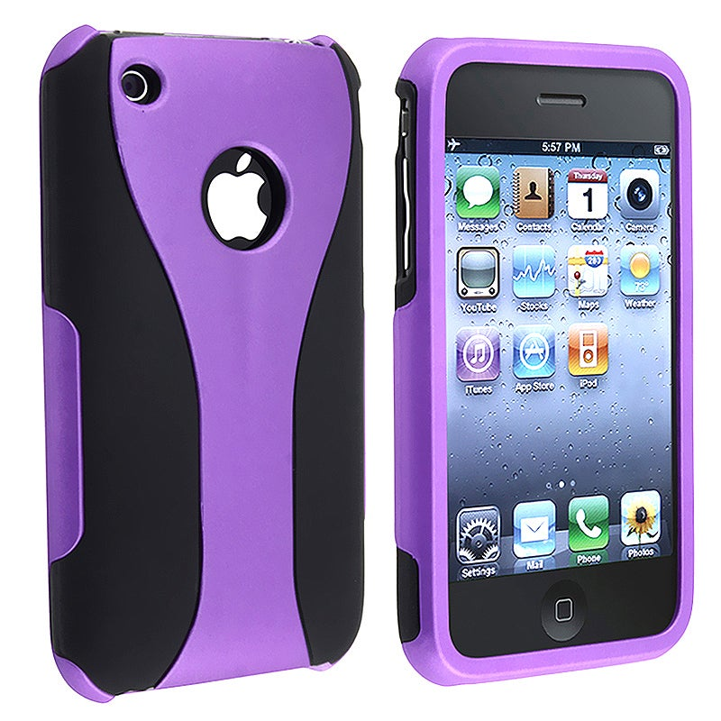 Purple/ Black Cup Shape Snap-on Case for Apple iPhone 3G/ 3GS