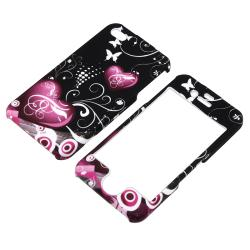 INSTEN Dark Purple Heart With Butterfly Snap-on Phone Case Cover for Apple iPhone 4/ 4S - Thumbnail 1