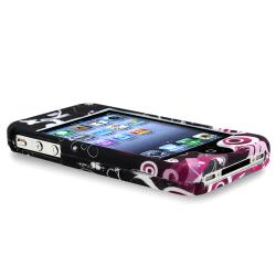 INSTEN Dark Purple Heart With Butterfly Snap-on Phone Case Cover for Apple iPhone 4/ 4S - Thumbnail 2