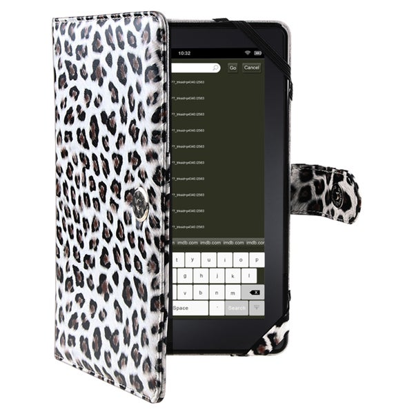 INSTEN Black Leopard-print Synthetic-leather Phone Case Cover for Amazon Kindle Fire