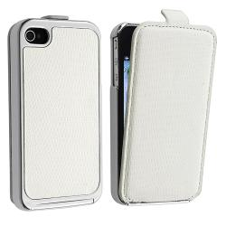 White Snap-on Case with Removable Leather Cover for Apple iPhone 4/ 4S - Thumbnail 0