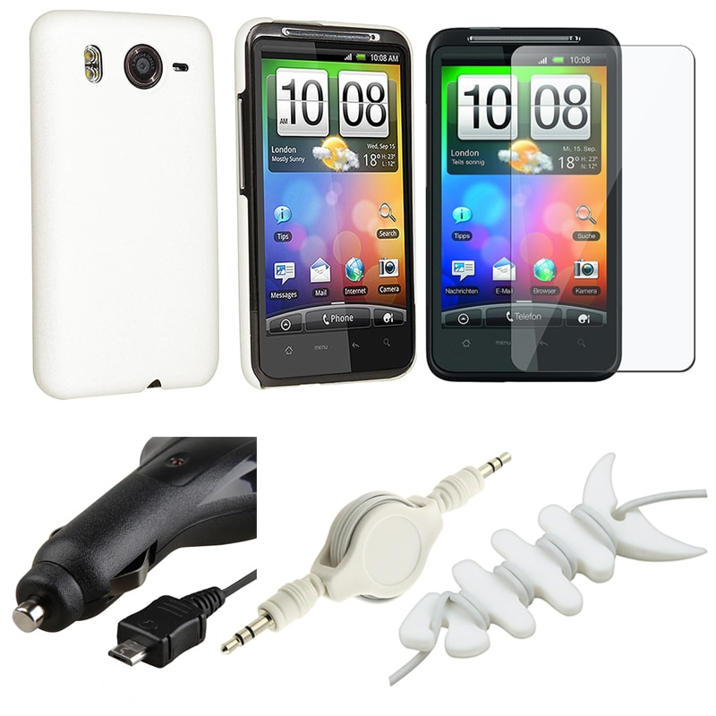 White Case/ LCD Protector/ Charger/ Cable/ Wrap for HTC Inspire 4G