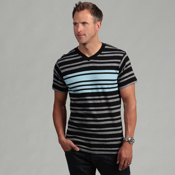 Burnside Men's Black Stripe V-neck Tee