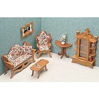 Unfinished Wood Living Room Dollhouse Furniture Kit