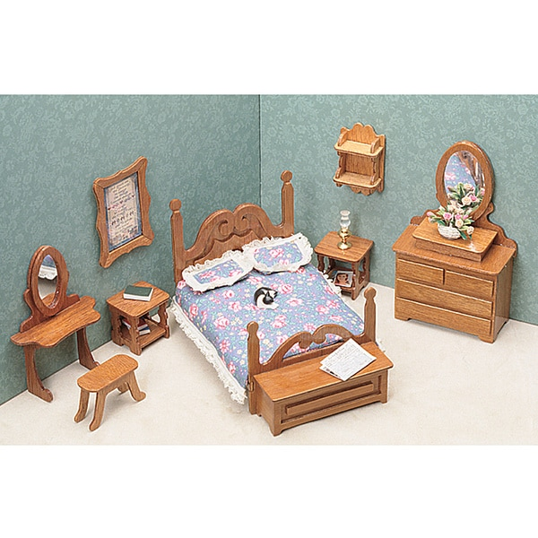 brown unfinished wood nine piece dollhouse bedroom furniture kit