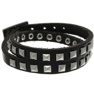 Black Leather and Stainless Steel Pyramid Stud Wrap Bracelet