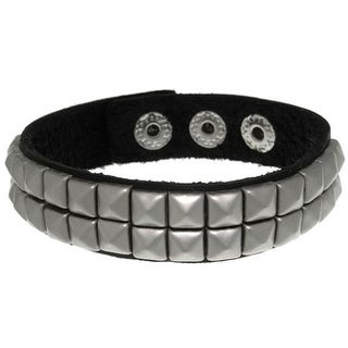 Black Leather and Stainless Steel Two-row Pyramid Stud Bracelet
