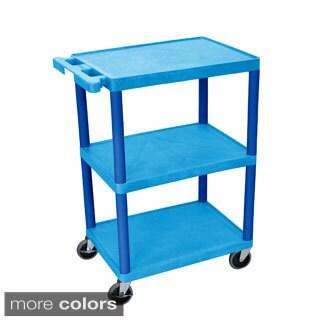 Luxor Three-shelf Heavy-duty Polyethylene Plastic Utility Cart