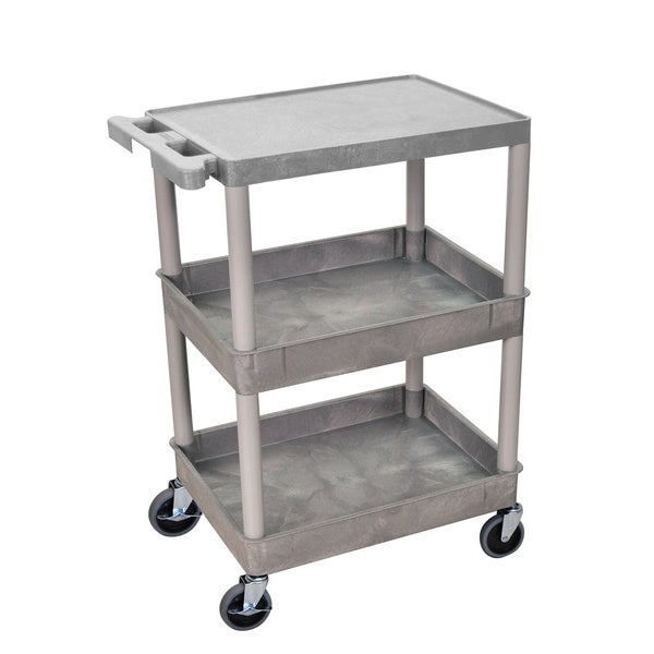 Luxor Gray Heavy Duty Plastic Utility Cart With Four Locking Casters