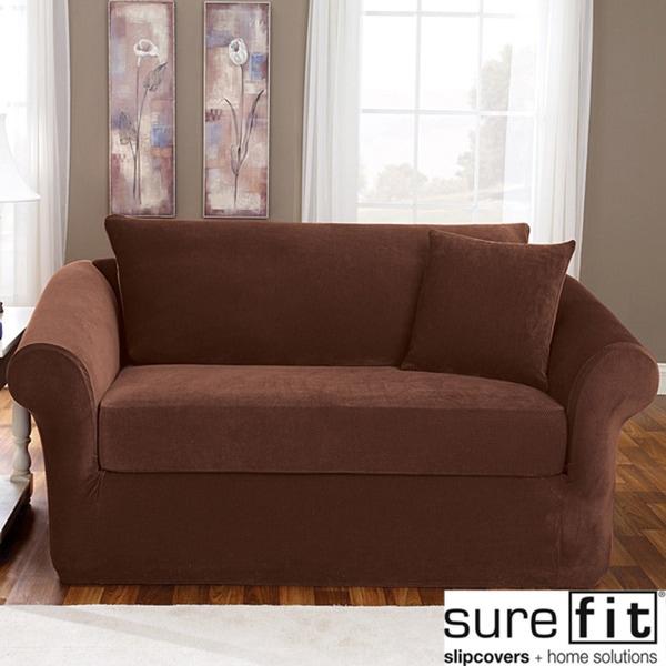 Sure Fit Stretch Pique 3-piece Chocolate Sofa Slipcover