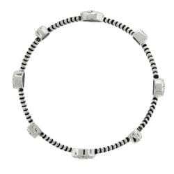 Sterling Silver 1/3ct TDW Diamond Station Bangle Bracelet (H-I, I2-I3)
