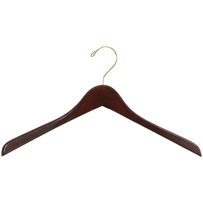 Safco Deluxe Contoured Walnut Finish Wooden Coat Hangers (Pack of 8)