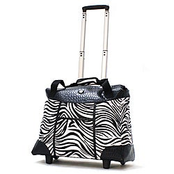 Olympia Deluxe Zebra Women's Rolling 17-inch Laptop Tote (Option: Zebra)