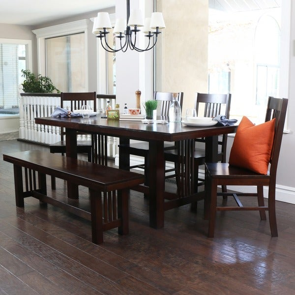 Contemporary Brown Wood 6 Piece Dining Set With Bench