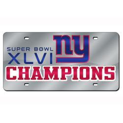 New York Giants Super Bowl XLVI Champion Laser Auto Tag