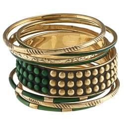 Ayala Gold and Earth Green Stones Bangle Bracelet (India)