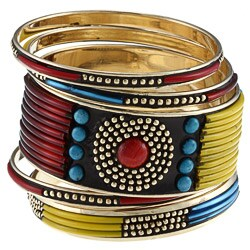 Miki Turquoise and Red Stones Bangle Bracelet (India)