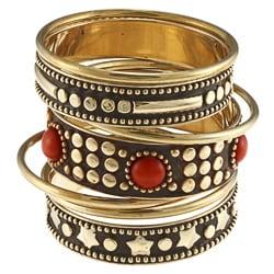Noa Gold-finshed Metal and Coral Stones Bangle Bracelet (India)