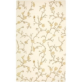 Rizzy Home Country Collection Hand-Tufted New Zealand Wool Blend Floral Beige Accent Rug (5' x 8') - 5' x 8'