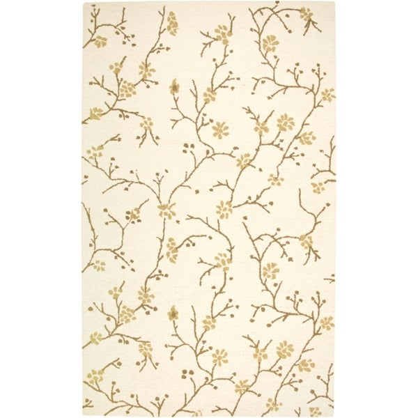 Rizzy Home Country Collection Hand-Tufted New Zealand Wool Blend Floral Beige Accent Rug - 5' x 8'