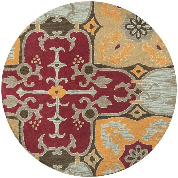Rizzy Home Country Collection Hand-tufted New Zealand Wool Blend Accent Rug (8' Round) - 8'