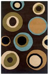 Hand-Tufted Artisan Brown/Blue/Beige Circle Design Wool Rug - 8' x 10' - Thumbnail 0