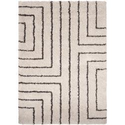 Woven Holloman White Geometric Shag Rug (5'3 x 7'6)