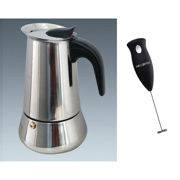 Ovente 6-cup Stainless Steel Stove-top Espresso with Maker with Mr. Coffee Milk Frother