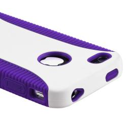 INSTEN Dark Purple TPU/ White Hard Plastic Hybrid Phone Case Cover for Apple iPhone 4/ 4S - Thumbnail 1